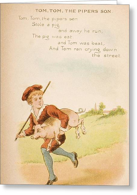 Nursery Rhyme And Illustration Of Tom Greeting Card by Vintage Design Pics