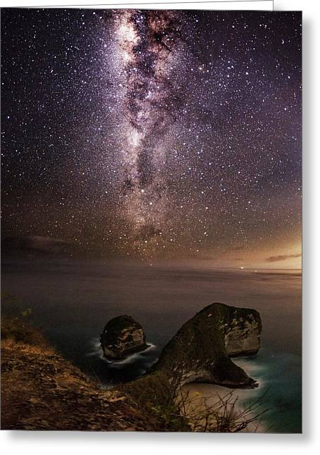 Nusa Penida Beach At Night Greeting Card