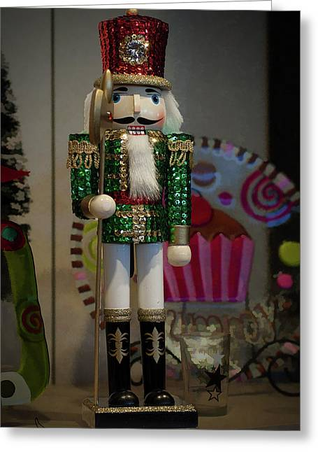 Nutcracker Christmas Deco Greeting Card by Michael Flood