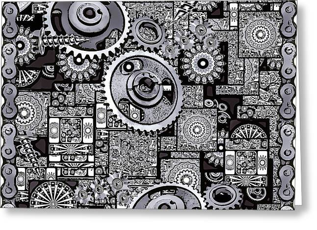 Greeting Card featuring the digital art Nuts And Bolts by Eleni Mac Synodinos