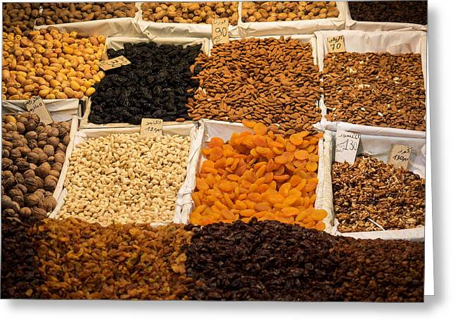 Nuts And Dried Fruit For Sale In Souk Greeting Card by Panoramic Images
