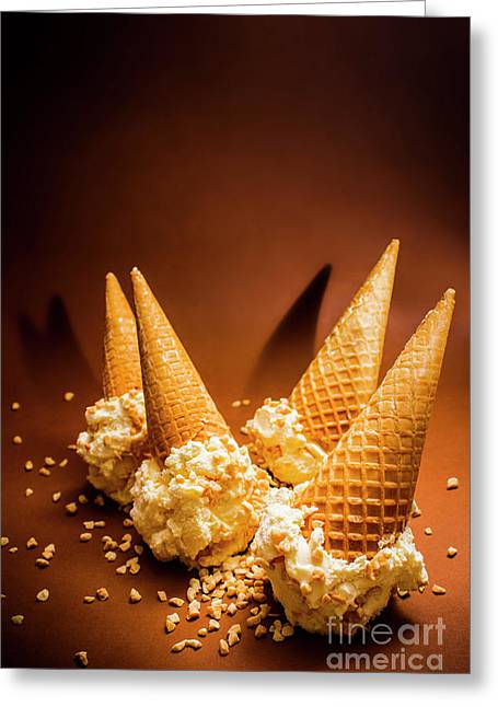 Nuts Over Ice-cream. Birthday Party Background Greeting Card