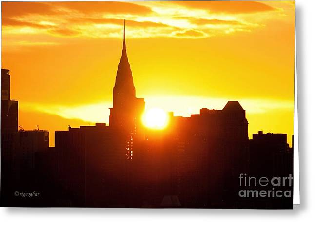 Ny Chrysler Building Sunrise Greeting Card by Regina Geoghan