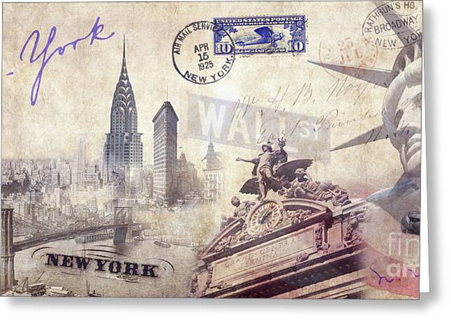 Ny City Greeting Card by Jon Neidert