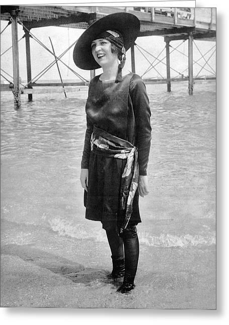 Ny senorita In Palm Beach Greeting Card by Underwood Archives