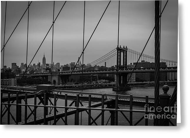 Ny Skyline From Brooklyn Bridge Greeting Card