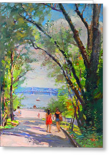 Bridge Greeting Cards - Nyack Park a Beautiful Day for a Walk Greeting Card by Ylli Haruni