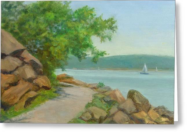 Nyack Trail Along The Hudson Greeting Card by Phyllis Tarlow