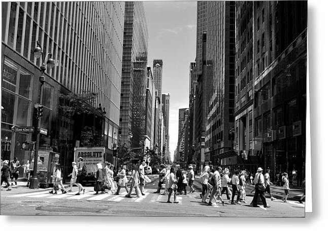 Nyc 42nd Street Crosswalk Greeting Card by Matt Harang