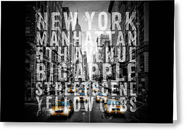 Nyc 5th Avenue Yellow Cabs Typography II Greeting Card by Melanie Viola