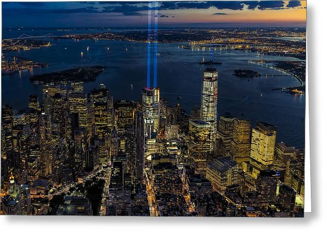 Nyc 911 Tribute In Lights Greeting Card by Susan Candelario