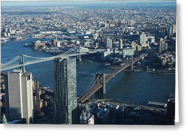 Greeting Card featuring the photograph Nyc Bridges by Matthew Bamberg