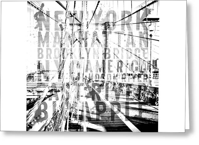 Nyc Brooklyn Bridge Typography No2 Greeting Card