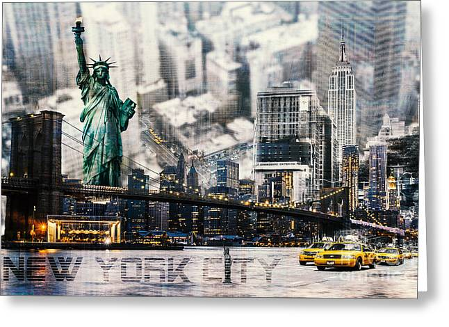 Greeting Card featuring the photograph Nyc - Collage by Hannes Cmarits