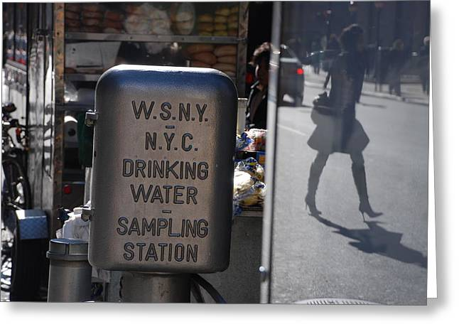 Greeting Card featuring the photograph Nyc Drinking Water by Rob Hans