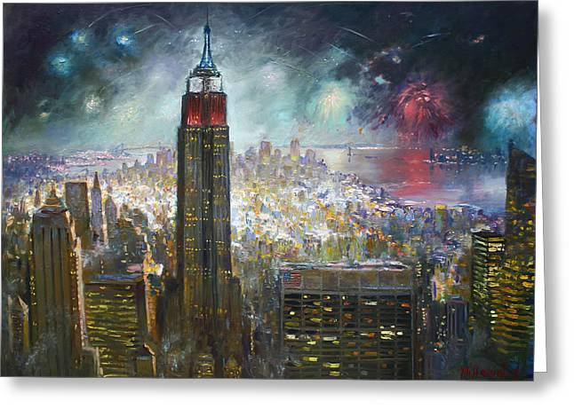 Firework Greeting Cards - Nyc. Empire State Building Greeting Card by Ylli Haruni