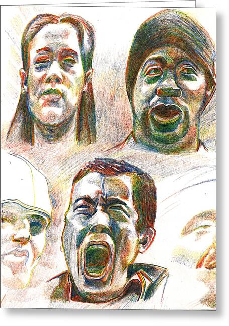 Greeting Card featuring the drawing Nyc Expressions by Al Goldfarb