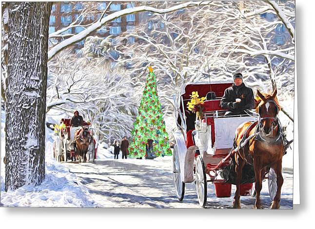 Festive Winter Carriage Rides Greeting Card by Sandi OReilly