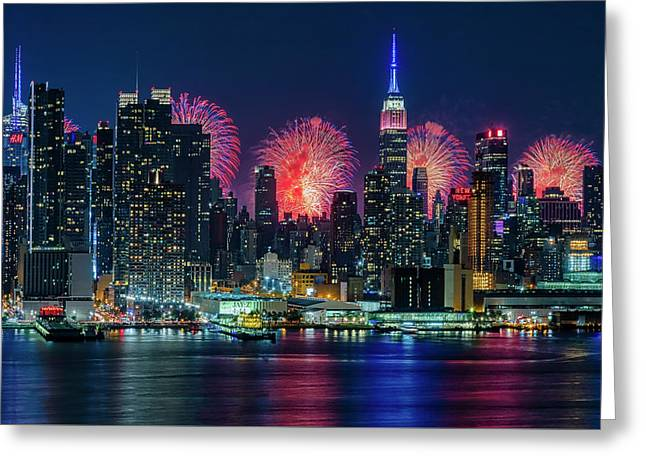 Greeting Card featuring the photograph Nyc Fireworks Celebration by Susan Candelario