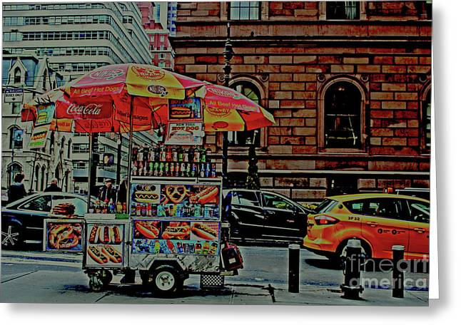 Greeting Card featuring the photograph New York City Food Cart by Sandy Moulder