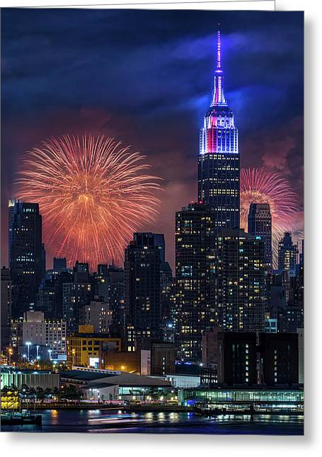 Greeting Card featuring the photograph Nyc Fourth Of July Fireworks  by Susan Candelario