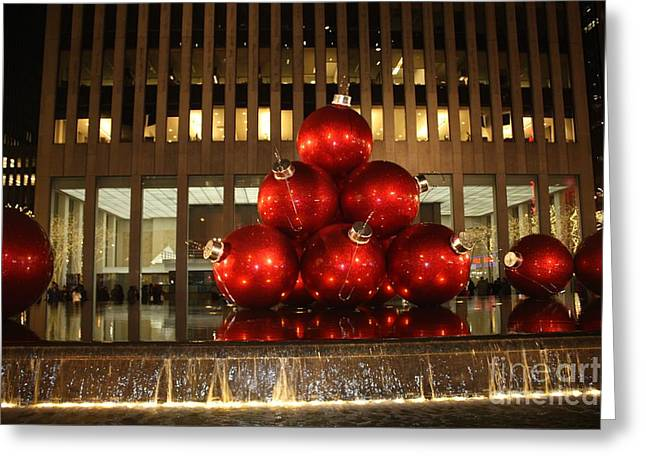Nyc Giant Christmas Tree Ornament At Night Greeting Card by John Telfer