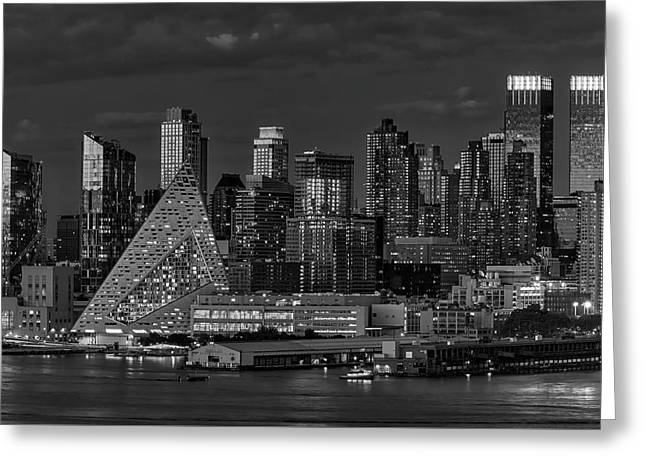 Greeting Card featuring the photograph Nyc Golden Empire Bw by Susan Candelario