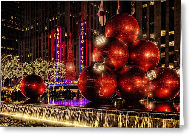 Greeting Card featuring the photograph Nyc Holiday Balls by Chris Lord