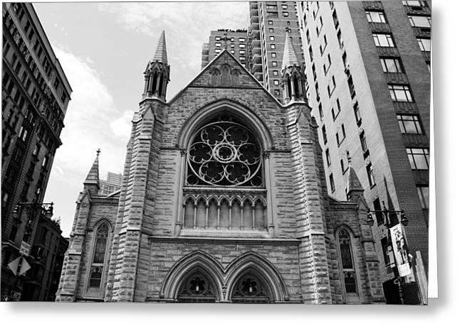 Nyc Holy Trinity Church - Black And White Greeting Card