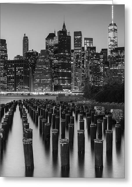 Nyc Skyline Bw Greeting Card