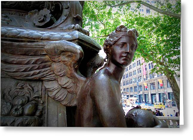 Nyc Library Angel Greeting Card