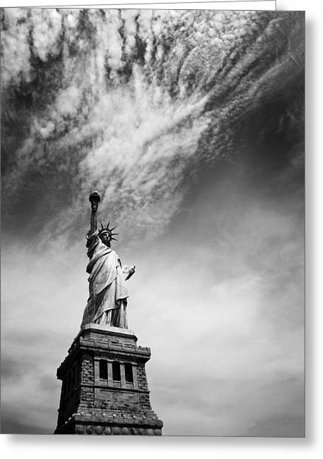 Cities Art Greeting Cards - NYC Miss Liberty Greeting Card by Nina Papiorek