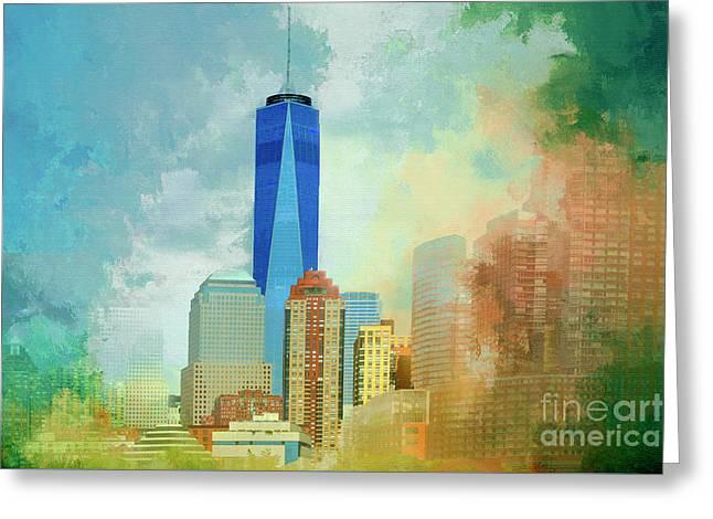 Nyc-one World Trade Artistic Impressions Greeting Card by Regina Geoghan