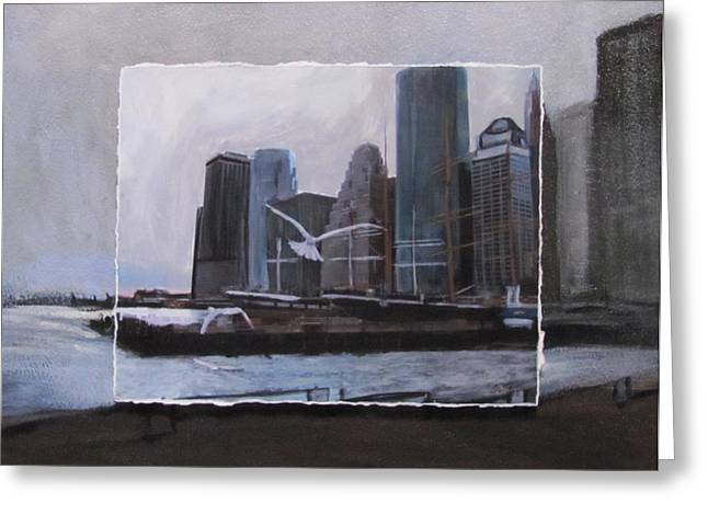 Nyc Pier 11 Layered Greeting Card by Anita Burgermeister
