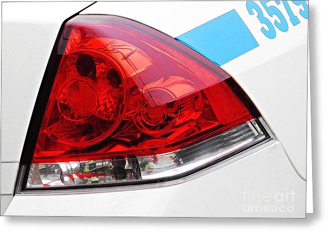 Nyc Police Car Brake Light Greeting Card by Sarah Loft