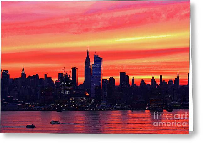 Nyc Skyline-sunrise Coral Greeting Card by Regina Geoghan