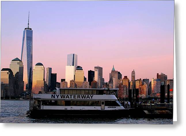 Nyc Skyline With Boat At Pier Greeting Card by Matt Harang