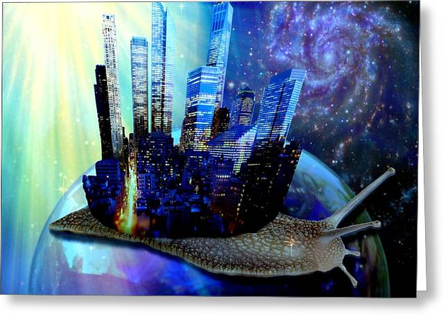 Nyc Snail - Day And Night Greeting Card