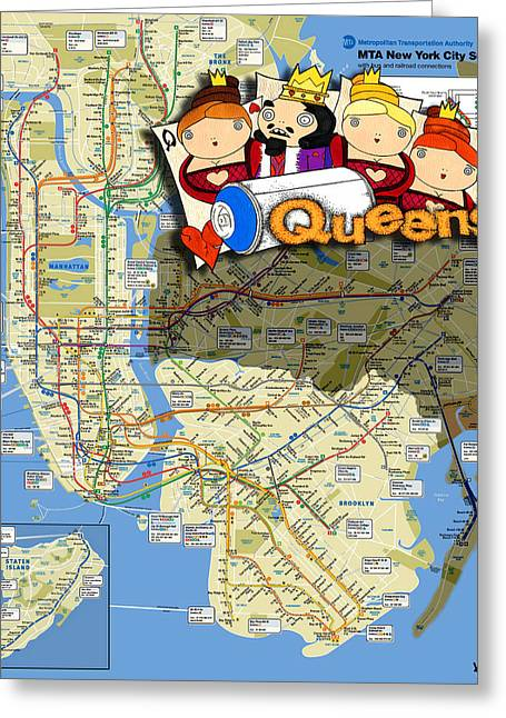 Playing Cards Mixed Media Greeting Cards - NYC Subway Map Queens Greeting Card by Turtle Caps