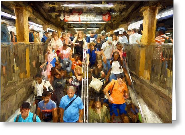 Nyc Subway Greeting Card by Matthew Ashton