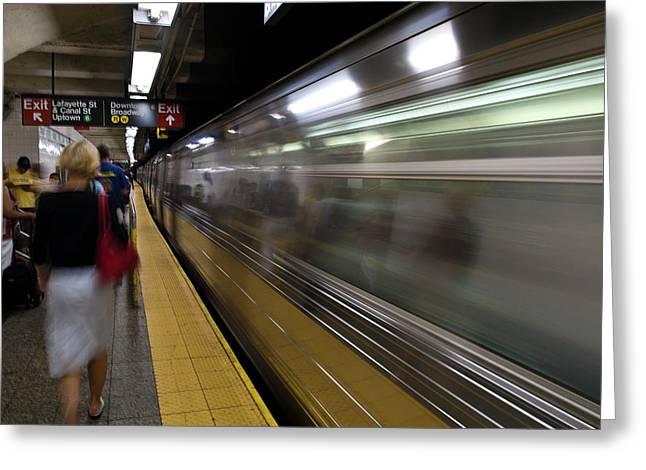 Nyc Subway Greeting Card by Sebastian Musial