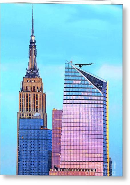 Nyc Sundown In Blue And Pink Greeting Card by Regina Geoghan