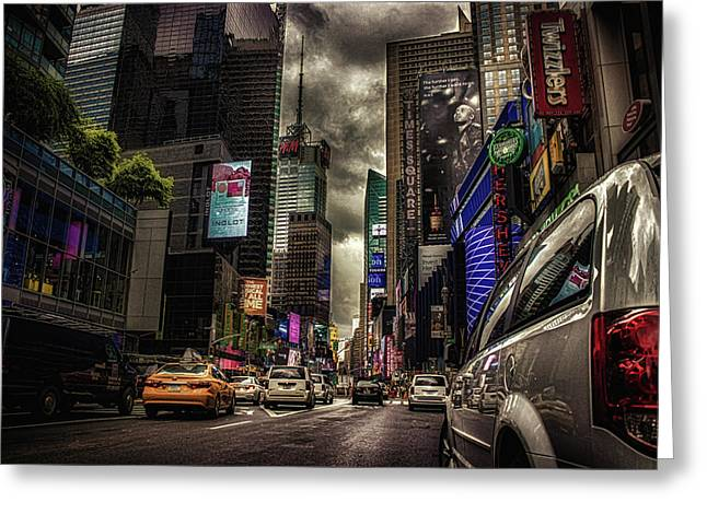 Nyc Traffic Greeting Card by Martin Newman