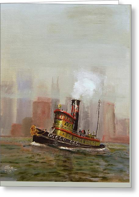 Nyc Tug Greeting Card by Christopher Jenkins