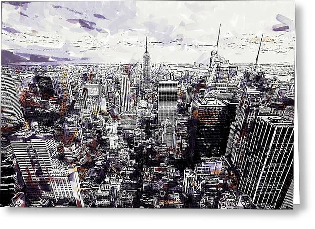 Nyc View From Rockefeller Center Greeting Card