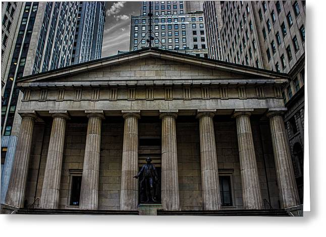 Nyc Wall Street Greeting Card by Martin Newman
