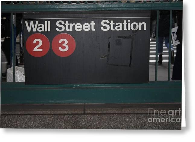 Nyc Wall Street Subway Entrance Greeting Card