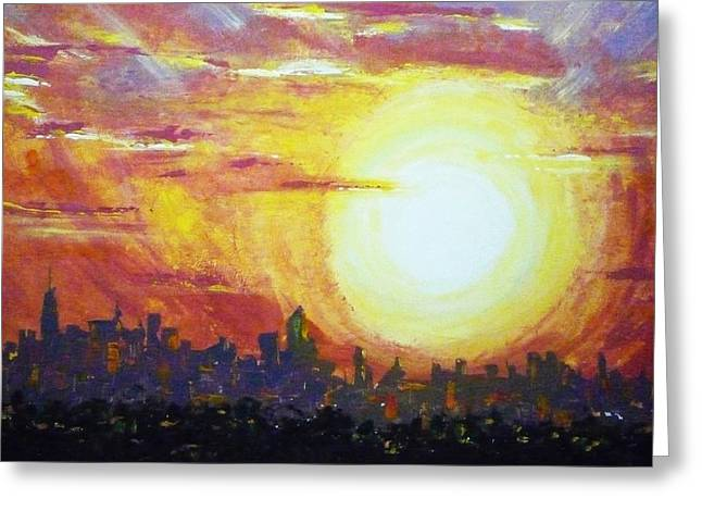 Nycity Sunset Greeting Card by Patti Bean