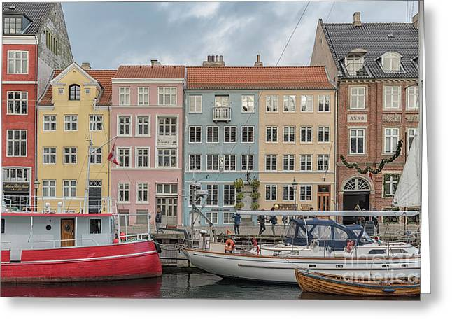 Greeting Card featuring the photograph Nyhavn Waterfront In Copenhagen by Antony McAulay
