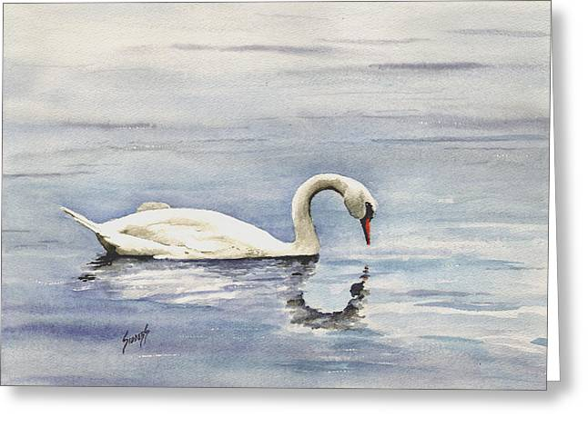 Nymphenburg Swan Greeting Card by Sam Sidders